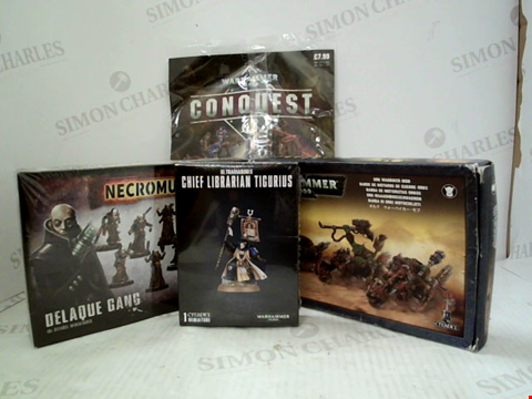 Lot 3010 4 ASSORTED CITADEL PRODUCTS TO INCLUDE; NECROMUNDA DELAQUE GANG, WARHAMMER 40,000 ULTRAMARINE'S CHIEF LIBERARIAN TIGURIUS, WARHAMMER 40,000 ORK WARBIKER MOB AND WARHAMMER 40,000 CONQUEST MAGAZINE