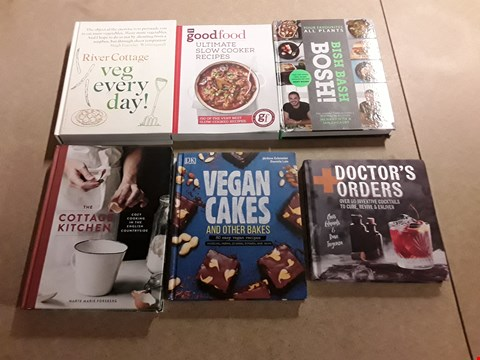Lot 483 LOT OF APPROXIMATELY 6 ASSORTED RECIPE BOOKS TO INCLUDE BBC GOOD FOOD ULTIMATE SLOW COOKER RECIPES, THE COTTAGE KITCHEN BY MARTE MARIE FORSBERG, DK VEGAN CAKES BY JEROME ECKMEIER AND DANIELA LAIS ETC