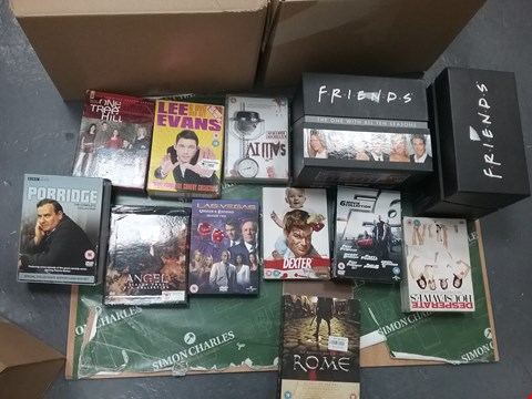 Lot 12028 A BOX OF APPROXIMATELY 19 ASSORTED DVD/BOXSETS TO INCLUDE FRIENDS BOXSET AND A PORRIDGE BOXSET