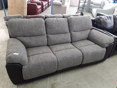 Lot 39 DESIGNER GREY FABRIC AND BLACK FAUX LEATHER MANUAL RECLINING 3 SEATER SOFA