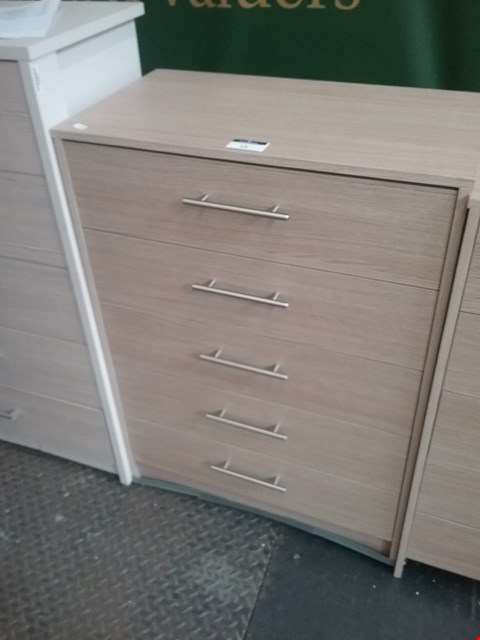 Lot 15 LAVANT OAK 5 DRAWER CHEST RRP £100