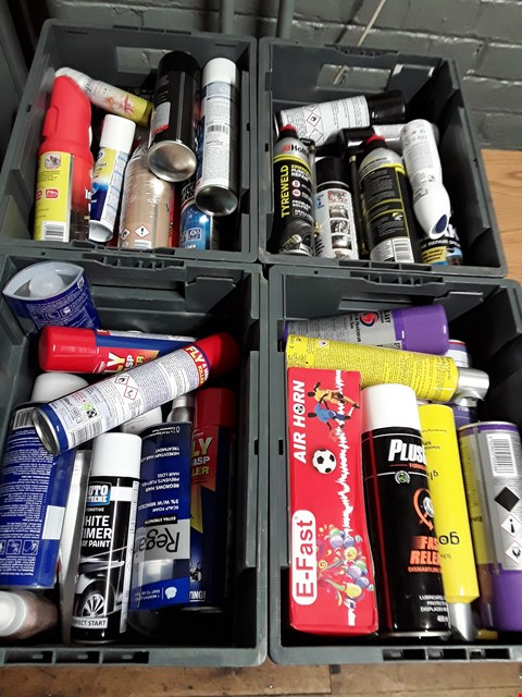 Lot 1011 FOUR TRAYS OF AEROSOLS INCLUDING PLUSGAS LUBRICANT, AIR HORNS, LEAK REPAIR, TYREWELD, FLY KILLER, VALET SPRAY, ( TRAYS NOT INCLUDED )