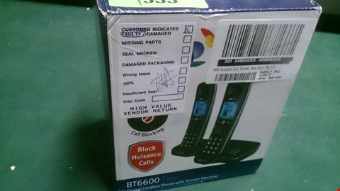 Lot 1533 BT 6600 TWIN DIGITAL CORDLESS HOME PHONE WITH ANSWERPHONE  RRP £89.99