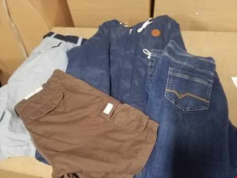 Lot 9345 LOT OF APPROXIMATELY 71 ASSORTED CLOTHING ITEMS TO INCLUDE VARIOUS DESIGNER COATS, JEANS AND SHORTS (4 BOXES)
