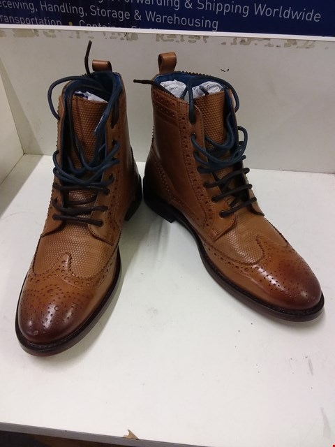 Lot 9072 BOXED OSWIN HYDE DERBY BOOTS - TAN SIZE 8