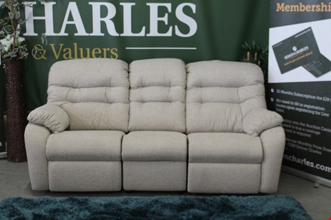 Lot 10009 QUALITY BRITISH MADE, HARDWOOD FRAMED BEIGE FABRIC MANUAL RECLINING 3 SEATER SOFA