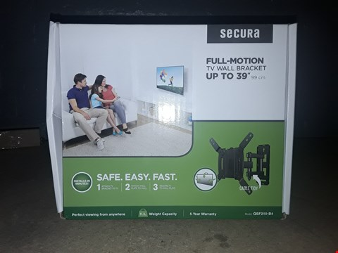 """Lot 9357 BRAND NEW SECURA FULL-MOTION TV WALL BRACKET FITS TV'S UP TO 39"""""""