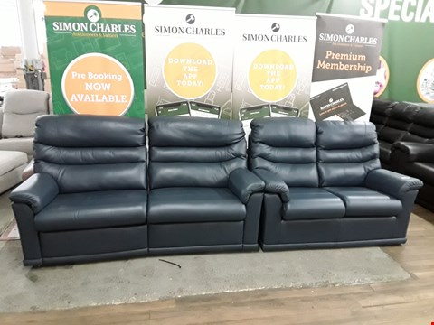 Lot 8023 QUALITY DESIGNER BRITISH MADE WOODEN FRAME DARK BLUE LEATHER MANUAL RECLINING 3 SEATER SOFA AND NON RECLINING 2 SEATER SOFA