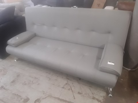 Lot 43 DESIGNER VENICE GREY FAUX LEATHER SOFA BED ON CHROME FEET RRP £179.99