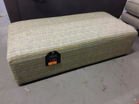 Lot 371 QUALITY BRITISH DESIGNER TAYLOR RECTANGULAR FOOTSTOOL UPHOLSTERED IN SHARK FIN FABRIC RRP £249