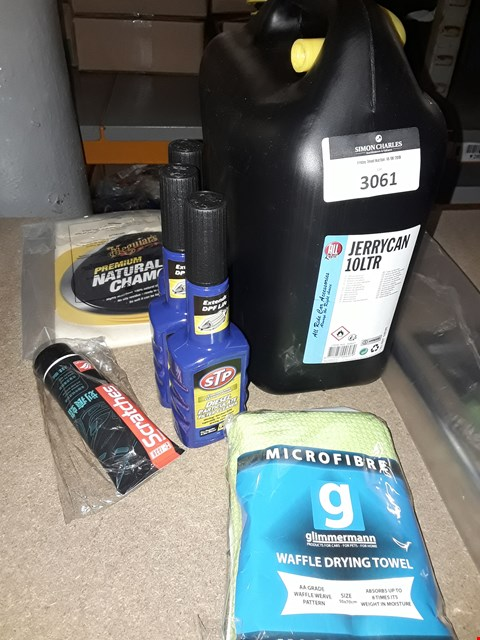 Lot 3061 APPROXIMATELY  7 ITEMS, 10L PLASTIC JERRY CAN CHAMOIS CLOTH, MICROFIBRE CLOTHS, 3 × STP DIESEL TREATMENTS SCRATCH POLISH,