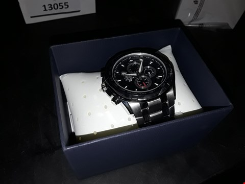 Lot 13057 CASIO EDIFICE STAINLESS STEEL BLACK FACE CHRONOGRAPH WATCH RRP £210.00