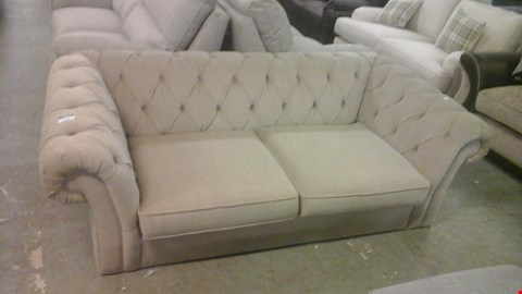 Lot 1249 DESIGNER BROWN FABRIC BUTTON BACK 3 SEATER SOFA WITH SCROLL ARMS