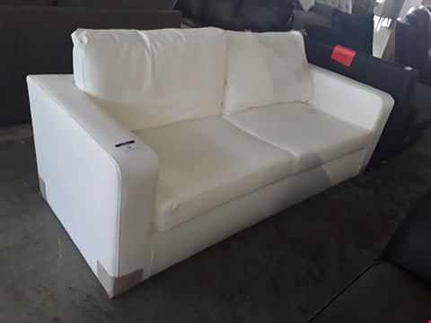 Lot 38 DESIGNER WHITE FAUX LEATHER TWO SEATER SOFA