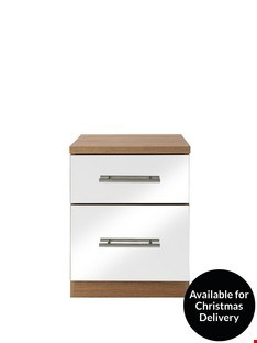 Lot 199 BOXED COLOGNE 2 DRAWER MIRRORED BEDSIDE CHEST RRP £129.00