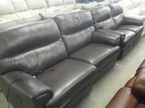 Lot 14 QUALITY BRITISH MADE HARDWOOD FRAMED DARK BROWN LEATHER 3 SEATER ELECTRIC RECLINER SOFA AND DARK BROWN LEATHER 2 SEATER SOFA
