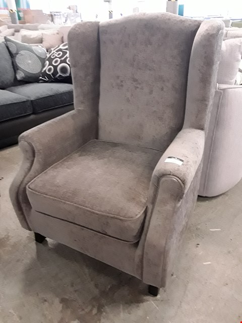 Lot 122 DESIGNER GREY FABRIC WINGED EASY CHAIR