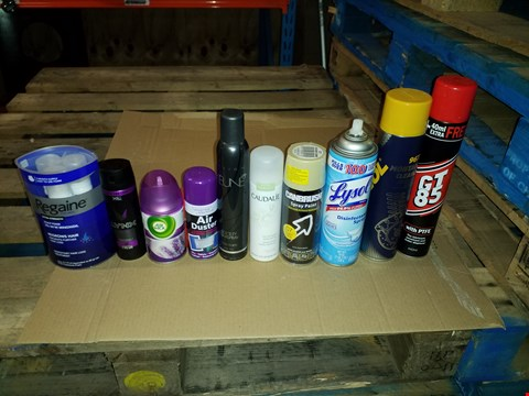 Lot 14228 4 BOXES OF ASSORTED HEALTH & BEAUTY, SPRAY PAINTS AND CLEANING ITEMS TO INCLUDE LYNX FRESH DEODORANT AND BODY SPRAY, CANBRUSH SUGAR CANE SPRAY PAINT AND KEUNE SOCIETY HAIRSPRAY