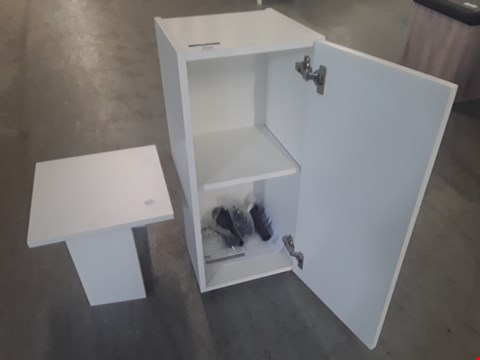 Lot 53 TWO ASSORTED ITEMS TO INCLYDE TWO DOOR WHITE STORAGE UNIT