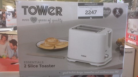 Lot 2247 TOWER ESSENTIALS 2 SLICE TOASTER