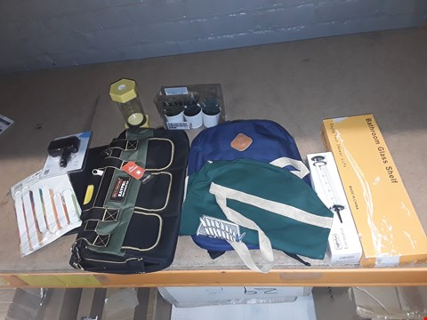 Lot 4614 10 ASSORTED ITEMS TO INCLUDE: BATHROOM GLASS SHELF, EAYPEAYTOOL BAG, PARTS FANS, ENEMATOR ETC