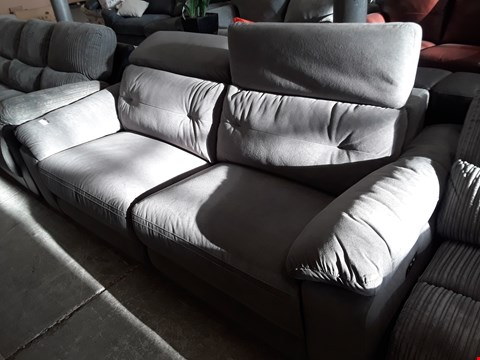 Lot 74 DESIGNER GREY FABRIC ITALIAN STYLE THREE SEATER SOFA WITH ADJUSTABLE HEADRESTS