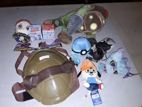 Lot 3021 LARGE QUANTITY OF ASSORTED TOYS AND COLLECTABLES TO INCLUDE FALLOUT 4 & POKEMON PLUSHIES, TURTLES COMBAT SHIELD AND BOPPI CHARMS