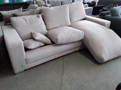 Lot 55 DESIGNER NATURAL FABRIC CHAISE SOFA