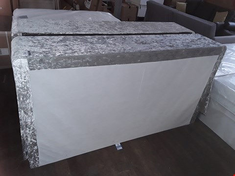 Lot 7034 DESIGNER SILVER CRUSHED VELVET 180CM SUPER KINGSIZE 2-PIECE DIVAN BASE WITH STORAGE DRAWERS