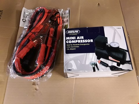 Lot 31 TWO ITEMS, MINI AIR COMPRESSOR & SET JUMP LEADS