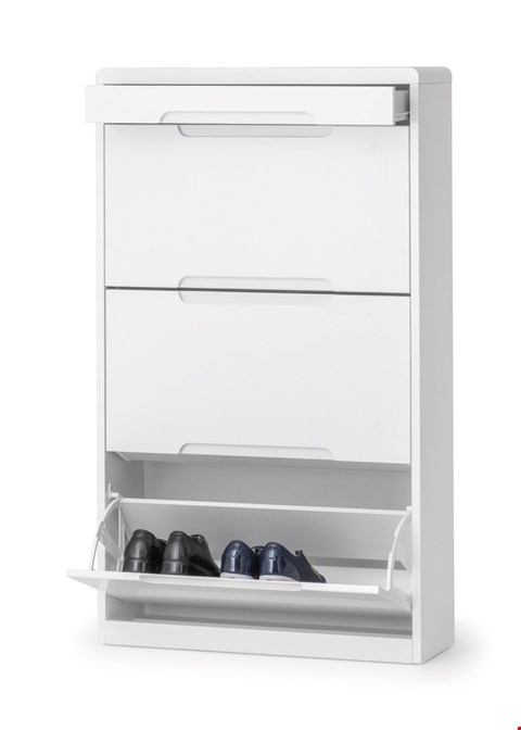 Lot 3555 BOXED MANHATTAN WHITE HIGH GLOSS SHOE CABINET WITH DRAWER