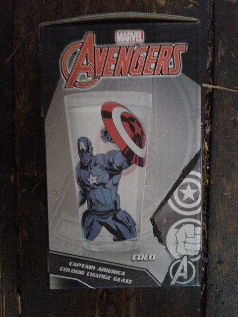 Lot 6010 LOT OF 3 ASSORTED ITEMS TO INCLUDE A 2PC RED KITCHEN CANISTER SET (TEA AND COFFEE), MARVEL CAPTAIN AMERICA & HULK COLOUR CHANGING GLASS AND A FAMOUS GROUSE HOT TODDY SET RRP £59