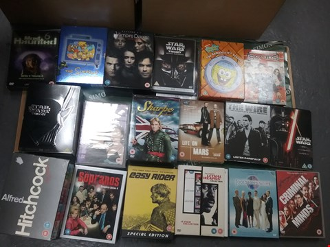 Lot 12021 A BOX OF APPROXIMATELY 27 ASSORTED DVD/BOXSETS TO INCLUDE A ALFRED HITCHCOCK SET AND A STAR WARS TRILOGY