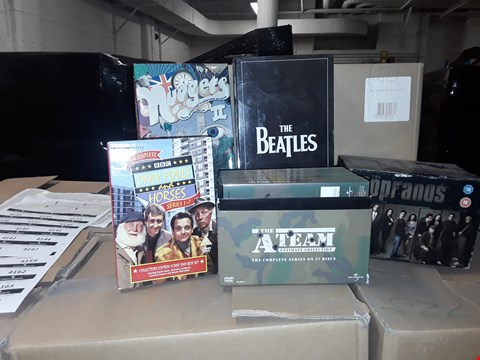 Lot 4133 JOB LOT OF ASSORTED CD/DVD BOXSETS , BOOKS AND GAMES TO INCLUDE THE BEATLES,  THE A TEAM, ONLY FOOLS AND HORSES(4 BOXES)
