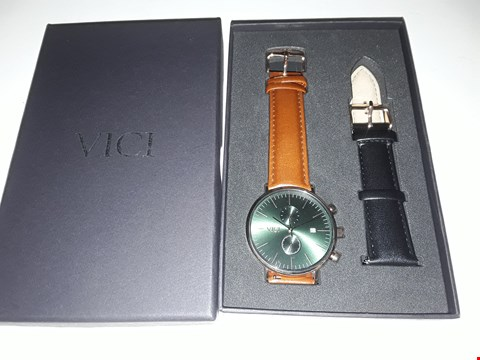 Lot 876 BOXED DESIGNER GENTS WRISTWATCH WITH BROWN & BLACK LEATHER STRAPS IN THE STYLE OF VICI
