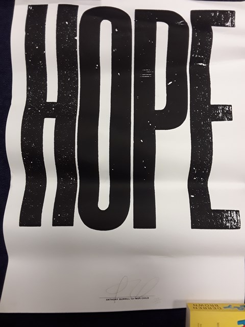 Lot 16 ANTHONY BURRILL 'HOPE' PRINT FOR WAR CHILD NUMBERED 100/100