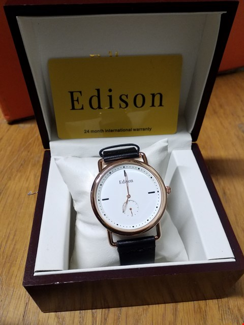 Lot 100 EDISON WRIST WATCH WITH ROSE GOLD CASING & BLACK LEATHER STRAP