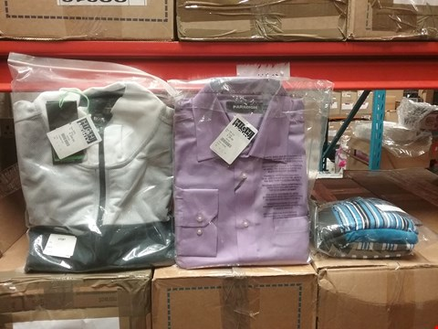 Lot 1324 LOT OF 8 BOXES CONTAINING APPROXIMATLEY 185 ASSORTED CLOTHING ITEMS TO INCLUDE CAPSULE MEN'S BOXERS, PARADIGM PURPLE SHIRT AND HUGO BOSS NAVY COAT