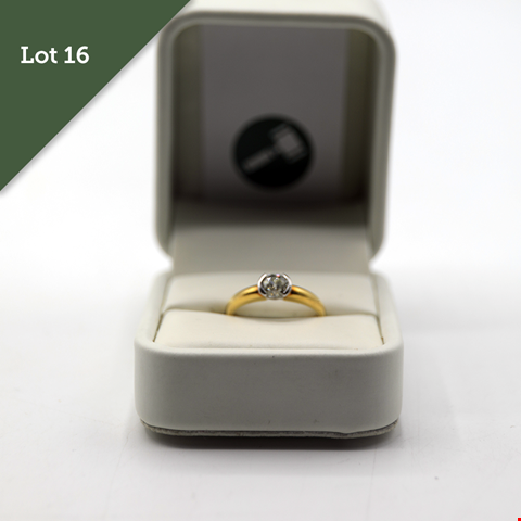 Lot 16 DESIGNER 18CT GOLD SOLITAIRE RING SEMI RUB OVER SET WITH AN OLD CUT DIAMOND WEIGHING +0.75CT RRP £2100.00