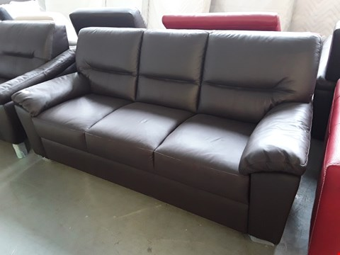 Lot 64 BRAND NEW QUALITY ITALIAN DESIGNER BROWN LEATHER 3 SEATER SOFA