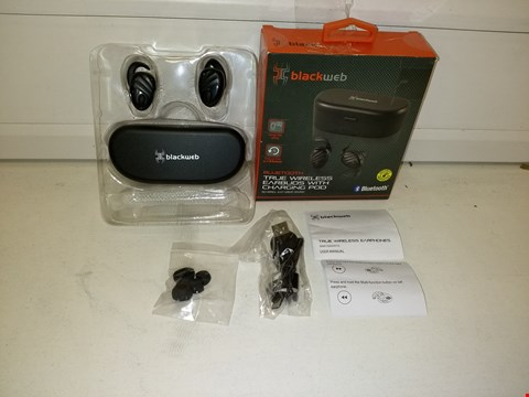 Lot 9547 BLACKWEB BLUETOOTH TRUE WIRELESS EARBUDS WITH CHARGING CASE IN BLACK