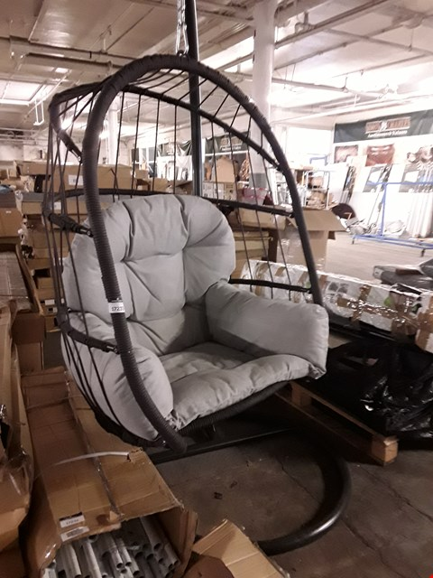 Lot 17233 METAL FRAMED EGG CHAIR WITH GREY UPHOLSTERED CUSHION