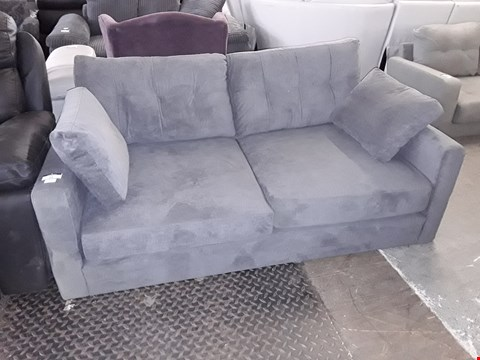 Lot 24 DESIGNER GREY FABRIC TWO SEATER SOFA WITH BOLSTER CUSHIONS