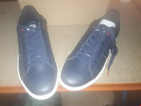 Lot 2132 LOT OF 3 BRAND NEW ASSORTED SHOES TO INCLUDE PENGUIN STEADMAN LACE UP NAVY TRAINERS, WHITER PERFORATED ARMOUR TRAINERS AND BLACK DOUBKE BUCKLE ANKLE BOOTS - VARIOUS SIZES  RRP £75