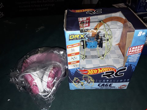 Lot 1580 LOT OF 2 ITEMS TO INCLUDE DISNEY PRINCESS MOULDED YOUTH HEADPHONES AND HOT WHEELS DRX  AGE FIGHTER DRONE RRP £58