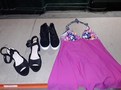 Lot 9356 4 BOXES APPROXIMATELY 105 ASSORTED CLOTHING AND FOOTWEAR ITEMS TO INCLUDE BLACK SANDALS,  BLACK TRAINERS AND HOT PINK SWIM DRESS