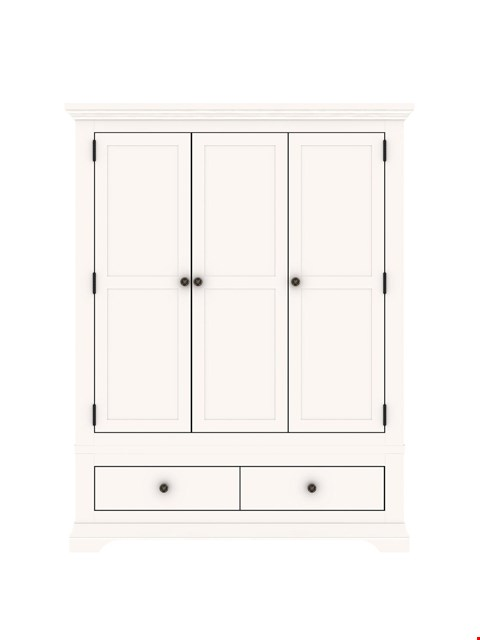 Lot 89 BRAND NEW BOXED NORMANDY WHITE 3-DOOR 2-DRAWER WARDROBE (3 BOXES) RRP £699.00