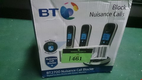 Lot 1461 BT 2700 NUISANCE CALL BLOCKER TRIO DIGITAL CORDLESS HOME PHONE WITH ANSWERPHONE  RRP £79.99