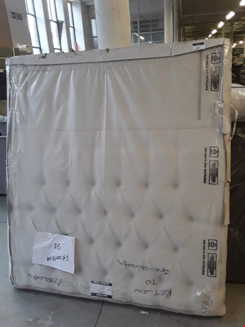 Lot 119 QUALITY HAND MADE EGGSHELL FABRIC KING SIZE HEADBOARD