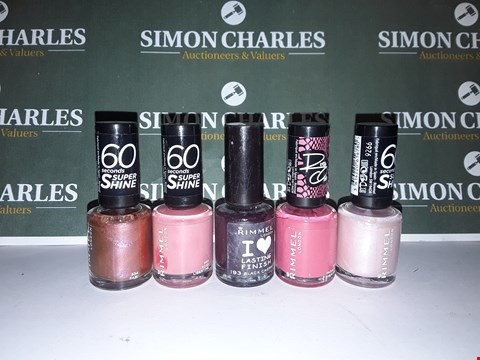 Lot 12 LOT OF 5 ASSORTED RIMMEL LONDON NAIL POLISHES